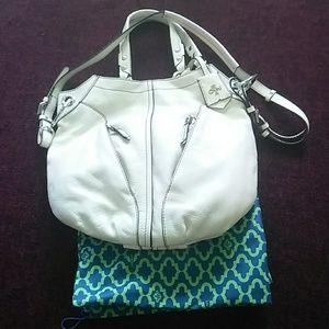 Oryany Large White Leather Hobo Bag